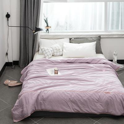 2019新款全棉色织水洗棉刺绣工艺款夏被 150x200cm 爱心-清新紫