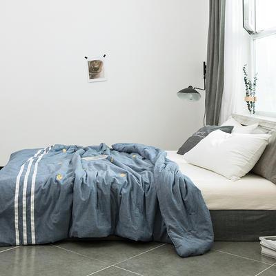 2019新款全棉色織水洗棉刺繡工藝款夏被 150x200cm 小魚-牛仔藍
