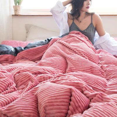 2019新款加厚魔法绒四件套法莱绒水晶绒宝宝绒四件套 1.8m(6英尺)床笠款四件套 豆沙粉