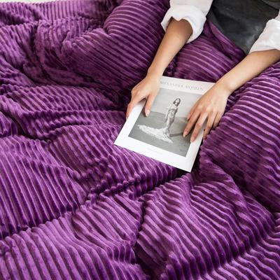 2019新款加厚魔法絨四件套法萊絨水晶絨寶寶絨四件套 1.8m(6英尺)床笠款四件套 夢幻紫