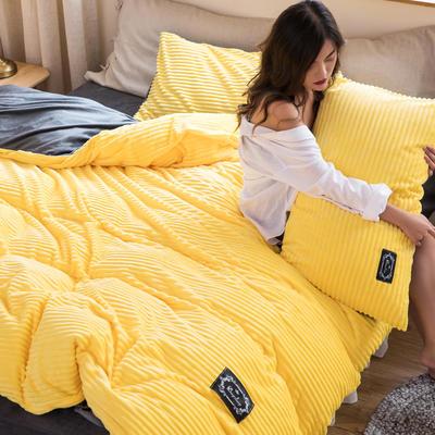2019新款加厚魔法绒四件套法莱绒水晶绒宝宝绒四件套 1.8m(6英尺)床笠款四件套 柠檬黄