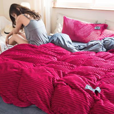 2019新款加厚魔法绒四件套法莱绒水晶绒宝宝绒四件套 1.8m(6英尺)床笠款四件套 洋气红