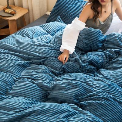 2019新款加厚魔法絨四件套法萊絨水晶絨寶寶絨四件套 1.8m(6英尺)床笠款四件套 優雅藍