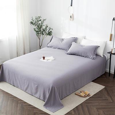 2019新款水洗棉褶皱花边 单品床单 单床单:180cmx230cm 浅莲灰