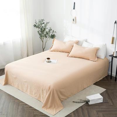 2019新款水洗棉褶皱花边 单品床单 单床单:180cmx230cm 浅米咖