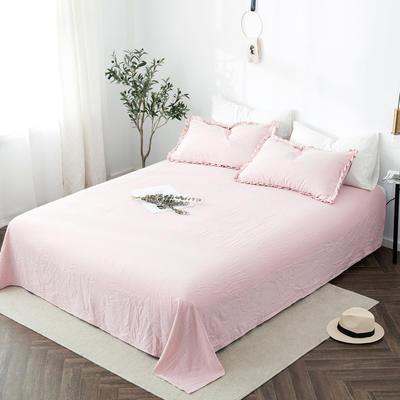 2019新款水洗棉褶皱花边 单品床单 单床单:180cmx230cm 浅藕粉