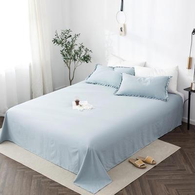 2019新款水洗棉褶皱花边 单品床单 单床单:180cmx230cm 清水蓝