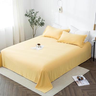 2019新款水洗棉褶皱花边 单品床单 单床单:180cmx230cm 象牙黄