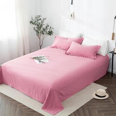 2019新款水洗棉褶皱花边 单品床单 单床单:180cmx230cm 胭脂红