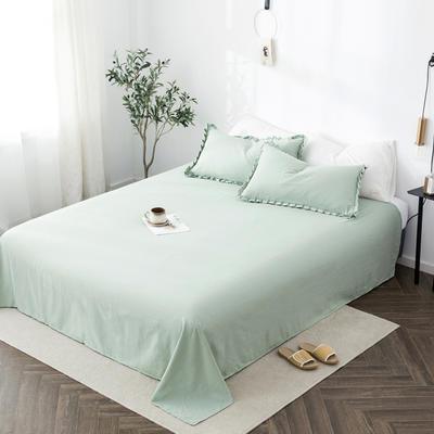 2019新款水洗棉褶皱花边 单品床单 单床单:180cmx230cm 月牙绿