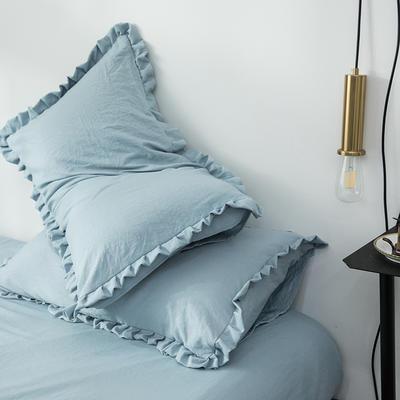 2019新款水洗棉褶皺花邊單品枕套 48cmX74cm/只 清水藍