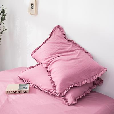 2019新款水洗棉褶皺花邊單品枕套 48cmX74cm/只 胭脂紅