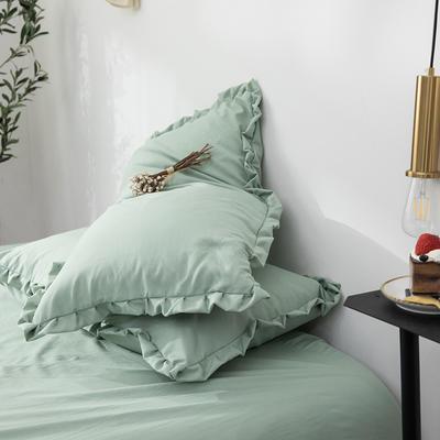 2019新款水洗棉褶皺花邊單品枕套 48cmX74cm/只 月白綠