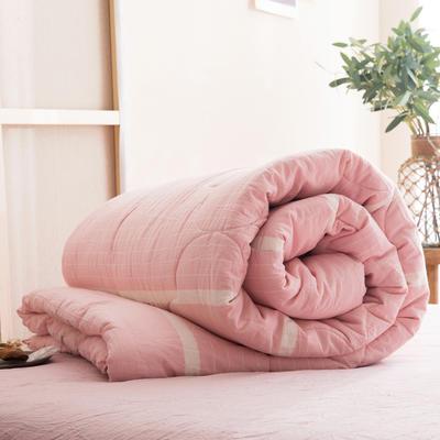 2019新款無印風全棉色織水洗棉棉花秋冬被 冬被:150x200cm(5.6斤) 彩條粉白