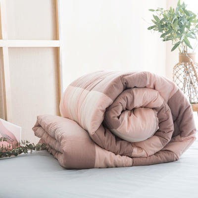 2019新款無印風全棉色織水洗棉棉花秋冬被 冬被:150x200cm(5.6斤) 粉大格
