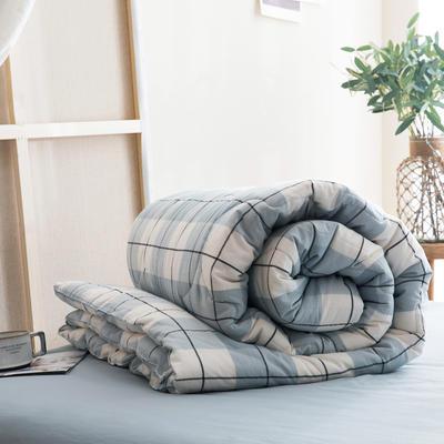 2019新款無印風全棉色織水洗棉棉花秋冬被 冬被:150x200cm(5.6斤) 萊茵格藍