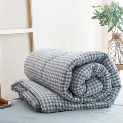 2019新款無印風全棉色織水洗棉棉花秋冬被 冬被:150x200cm(5.6斤) 藍小格