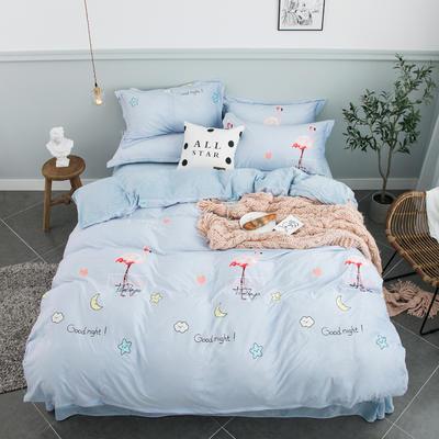 2019新款水晶绒印花四件套法莱绒牛奶绒加厚 1.8m床单款四件套 晚安宝贝 蓝