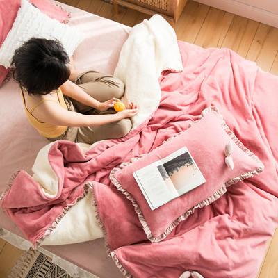 网红风牛奶绒双叶四件套水晶绒法莱绒羊羔绒四件套 1.2m(4英尺)床 豆沙蜜