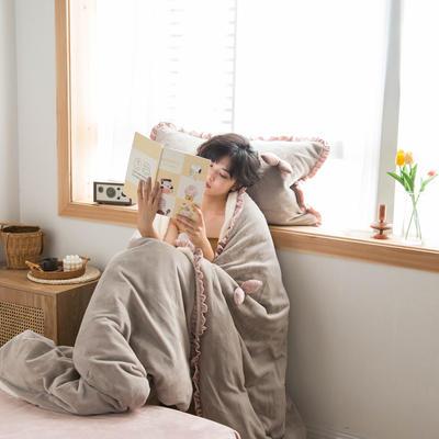 网红风牛奶绒双叶四件套水晶绒法莱绒羊羔绒四件套 1.2m(4英尺)床 蒙蒙灰