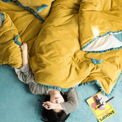 网红风牛奶绒双叶四件套水晶绒法莱绒羊羔绒四件套 1.2m(4英尺)床 嫩嫩黄