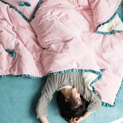 网红风牛奶绒双叶四件套水晶绒法莱绒羊羔绒四件套 1.2m(4英尺)床 浅浅粉