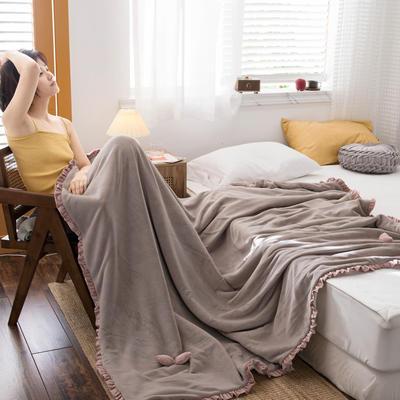 网红风牛奶绒毛毯可套被芯法莱绒水晶绒毛毯 150cmX200cm 蒙蒙灰