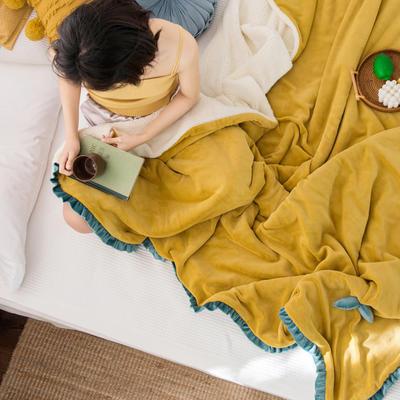 网红风牛奶绒毛毯可套被芯法莱绒水晶绒毛毯 150cmX200cm 嫩嫩黄