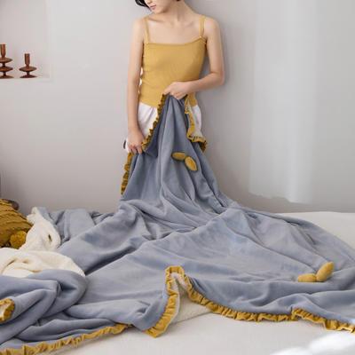 网红风牛奶绒毛毯可套被芯法莱绒水晶绒毛毯 150cmX200cm ?#22478;?#34013;