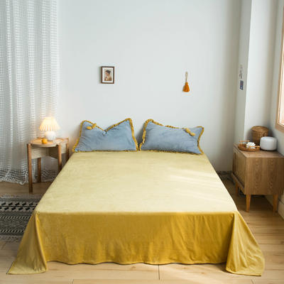 网红风牛奶绒法莱绒水晶绒单品床单 单品床笠 180x230cm(单床单) 嫩嫩黄