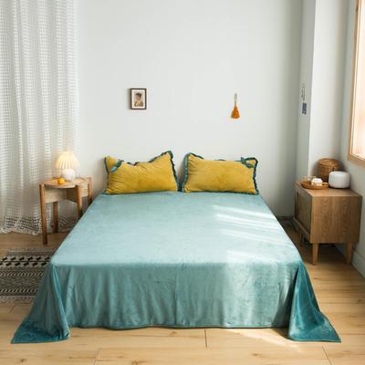 网红风牛奶绒法莱绒水晶绒单品床单 单品床笠 180x230cm(单床单) 祖母绿