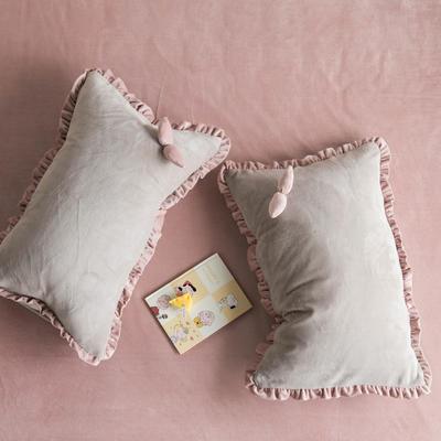 网红风牛奶绒水晶绒法莱绒双叶单品枕套 48cm*74cm一只 蒙蒙灰