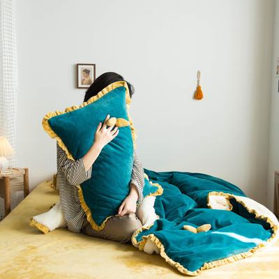 网红风牛奶绒水晶绒法莱绒双叶单品枕套 48cm*74cm一只 祖母绿