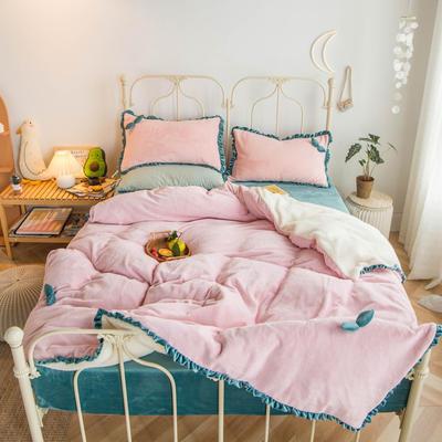 2019新款-牛奶绒双叶四件套水晶绒法莱绒羊羔绒实拍图 1.2m(4英尺)床 ?#22478;?#31881;