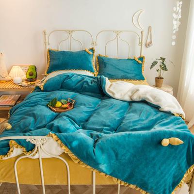 2019新款-牛奶绒双叶四件套水晶绒法莱绒羊羔绒实拍图 1.2m(4英尺)床 祖母绿