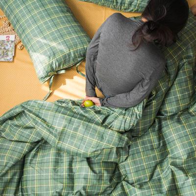 2020新款全棉ins風復古格套件系列—四件套 1.2m床單款三件套 亮綠格