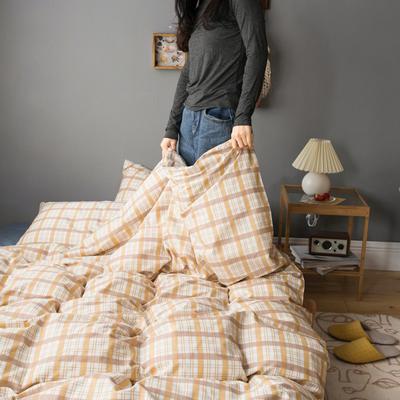 2020新款全棉ins風復古格套件系列—四件套 1.2m床單款三件套 奶咖格