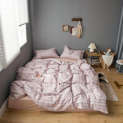 2020新款全棉ins風復古格套件系列—單品被套 150x200cm 粉紫格