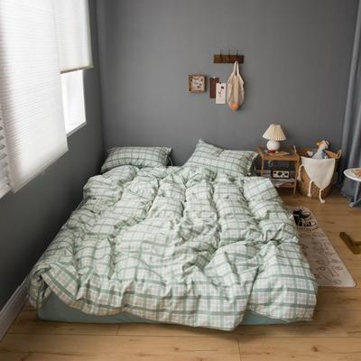 2020新款全棉ins風復古格套件系列—單品被套 150x200cm 淺綠格