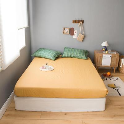 2020新款全棉ins風復古格套件系列—單品床笠 150x200cm 嫩黃格