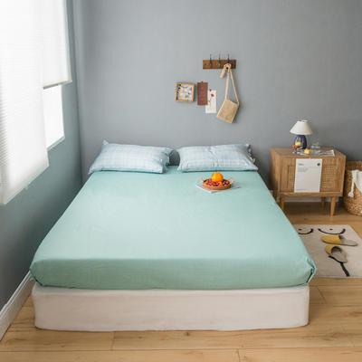2020新款全棉ins風復古格套件系列—單品床笠 150x200cm 水藍格