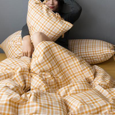 2020新款全棉ins風復古格套件系列—四件套 1.2m床單款三件套 嫩黃格