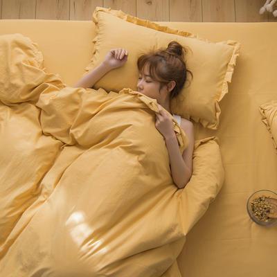 2020新款水洗棉新馬卡龍花邊四件套 1.2m床單款三件套 褶皺花邊-象牙黃