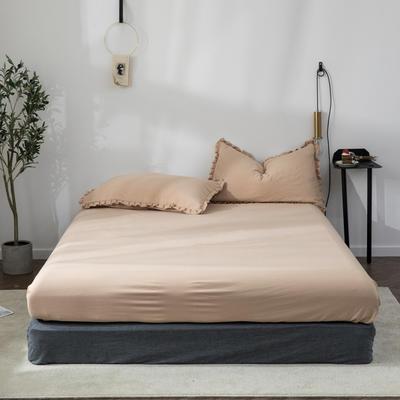 2020新款水洗棉馬卡龍色花邊—單品床笠 120cmx200cm 淺米咖