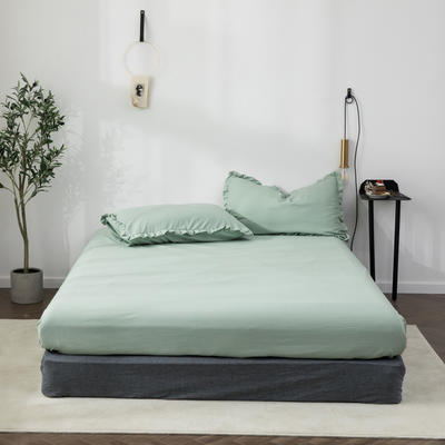 2020新款水洗棉馬卡龍色花邊—單品床笠 120cmx200cm 月白綠