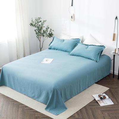 2020新款水洗棉馬卡龍色花邊—單品床單 180cmx230cm 深湖藍