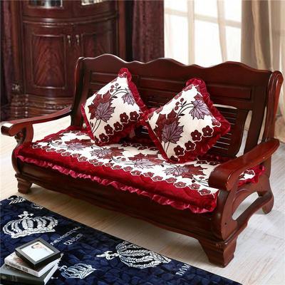 2018布艺沙发垫(长条款) 双人52x108厘米 红叶
