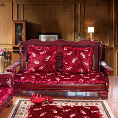 2018布艺沙发垫(长条款) 双人52x108厘米 红羽毛