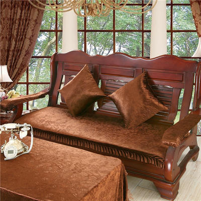 2018布艺沙发垫(长条款) 双人52x108厘米 金丝绒咖色