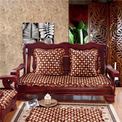 2018布艺沙发垫(长条款) 双人52x108厘米 咖啡格